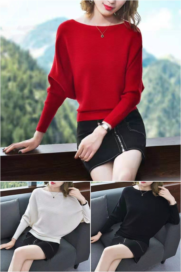 蝙蝠袖韩版2019年新宽松短款春秋装套头针织打底衫时尚一字领毛衣