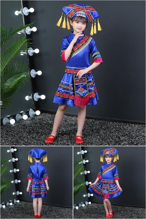 新款少数民族女童苗族彝族演出服装广西三月三日壮族节日表演服饰