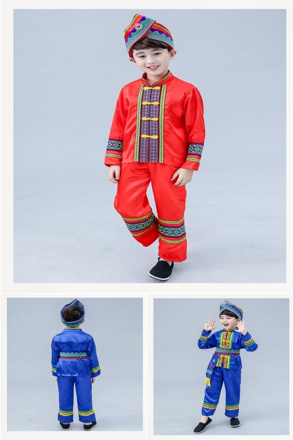 广西壮族儿童演出服男童幼儿少数民族苗族舞蹈服傣族葫芦丝表演服