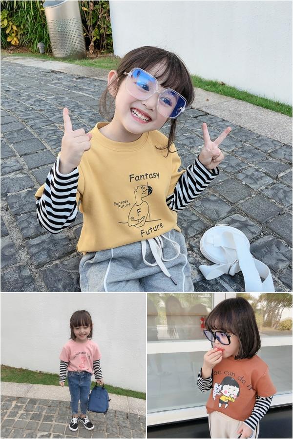 韩国东大门韩版宝宝假两件T恤儿童纯棉女童春款圆领打底衫长袖